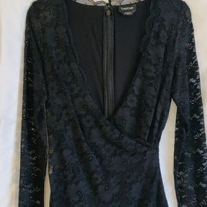 NWOT BEBE little black dress with lace, zip/hook